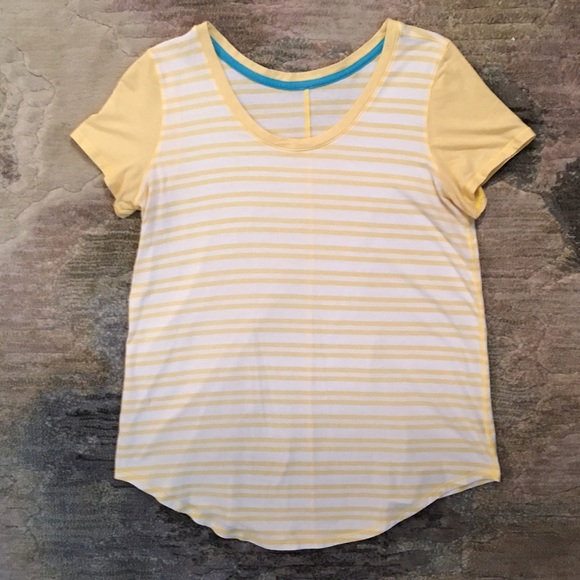 733795402a lululemon athletica Tops - Lululemon yellow and white striped tee