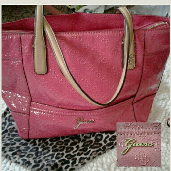 7f2f8eeedfae Guess Handbags - SALE⬇Guess tote bag pink Patent leather