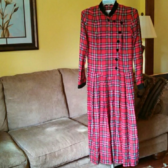 vintage vintage 1990s plaid long fall dress from top
