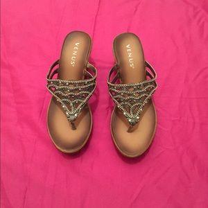 Venus Silver Embellished Sparkle Wedge Sandal