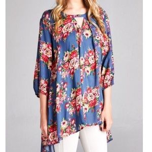 Southern Girl Fashion Tops - SWING TUNIC Floral Printed Top High Low Bohemian