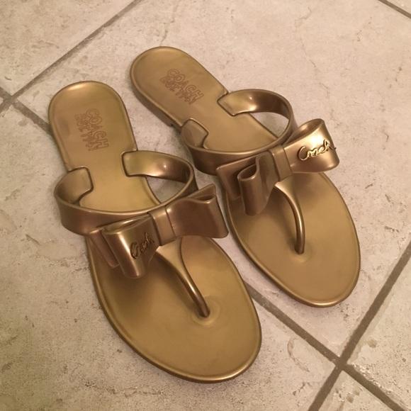 4a43d65eca3d72 Coach Shoes - Coach gold Jelly bow sandal flip flops 6