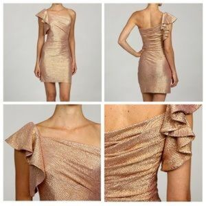 Hailey Logan Dresses & Skirts - Gold One Shoulder Party Dress