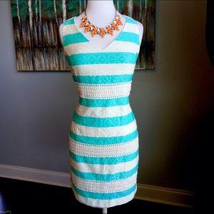 Taylor Dresses Dresses & Skirts - Chic Just Taylor Tiffany Blue Striped Geo Dress
