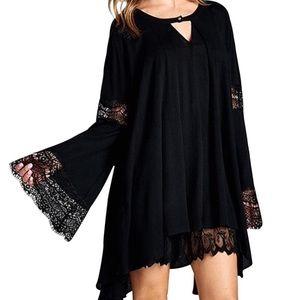 Southern Girl Fashion Tops - SWING TUNIC Lace Bell Sleeve Draped Mini Dress Top