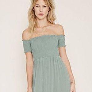 2860452fd16 Forever 21 Dresses - Smocked Off the Shoulder Maxi Dress