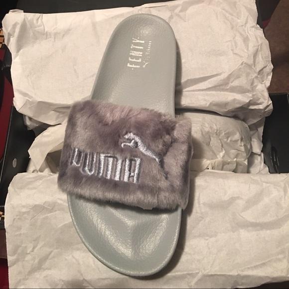 new style c337f 05a76 Silver Puma X Rihanna LeadCat Fenty Fur Slides 9.5 NWT