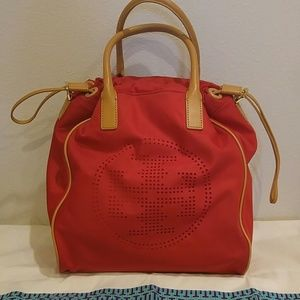 Tory Burch Red nylon bag with nude leather trim