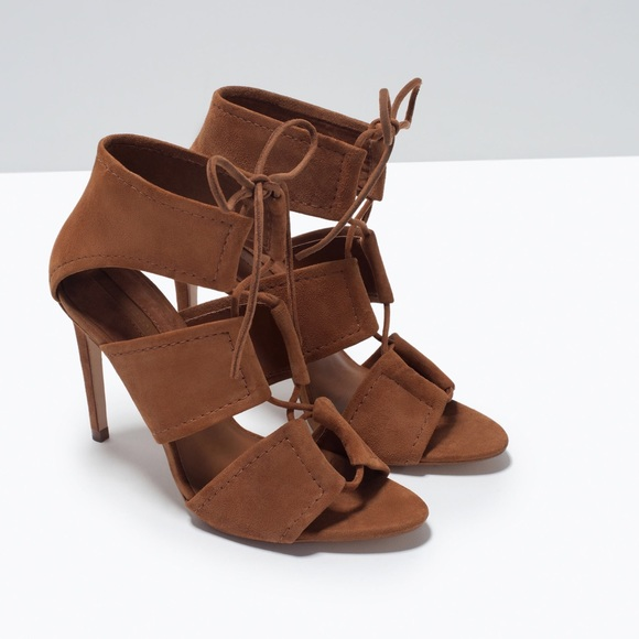 7a55571b4b9 Zara brown lace up heels. M 57c361b113302a286d0440df