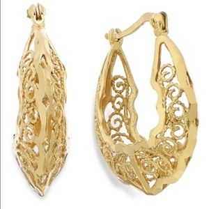 Gold over sterling filigree hoops - Giani Bernini