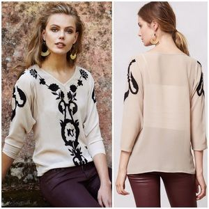 Anthropologie Illusione Blouse by Maeve silk