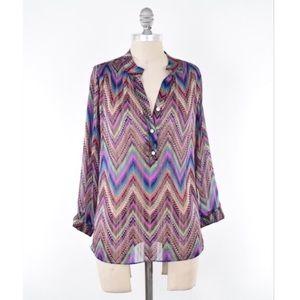 T-Bags Tops - T Bags rainbow tech print chiffon blouse