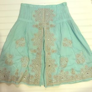 Miss Me Dresses & Skirts - Mint A line circle skirt embroidered and beaded