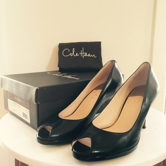 ba5c62c2ff Cole Haan Shoes | Black Peep Toe Nike Air Platform Pump | Poshmark