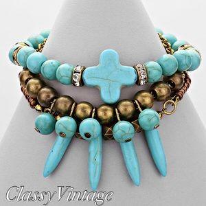 Jewelry - Howlite cross stretch bracelet..