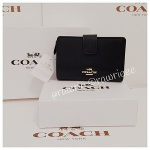 New Coach black leather Bifold wallet & gift box