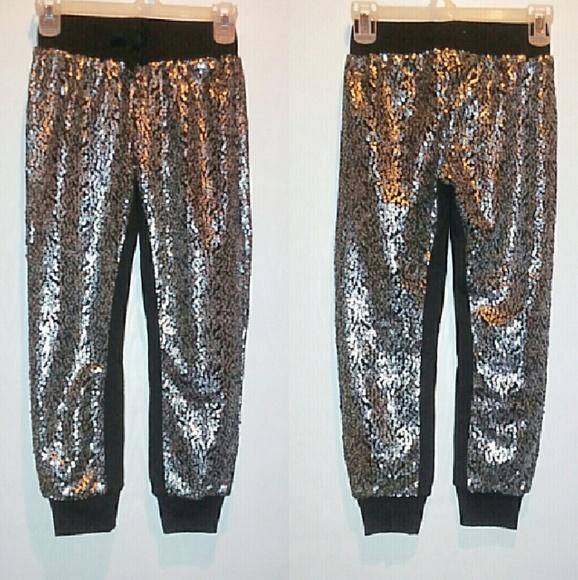 0d5ad87a3a Xhilaration Bottoms | Girls Silver Sequin Jogger Pants | Poshmark