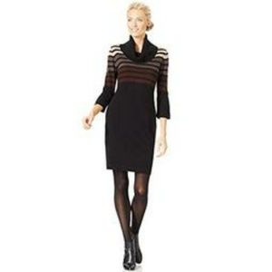 Connected Apparel  Dresses & Skirts - Ombre Stripe Cowl Neck Sweater Dress S NWT $79