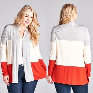 mockingbird + poppy Sweaters - SALE - Plus Size Tri Color Cardigan