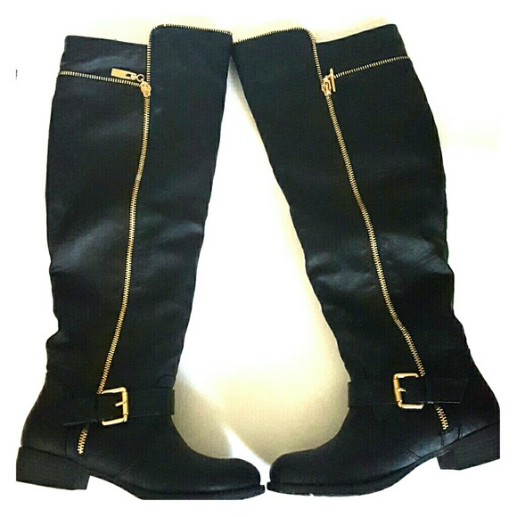 45% off Shoe Dazzle Shoes - Black Knee High Boots with Gold from ...