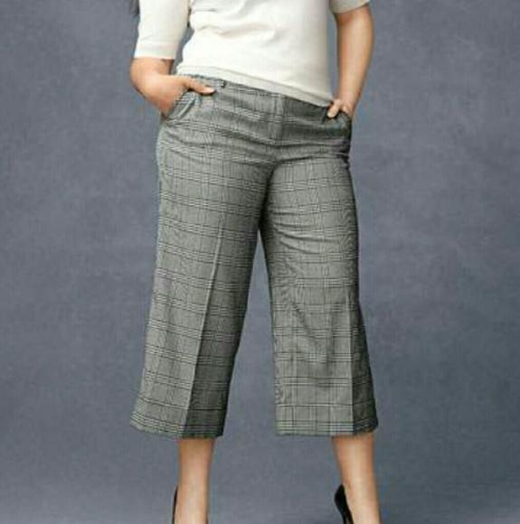 07c477184d9 Houndstooth wide leg crop pant Lane Bryant