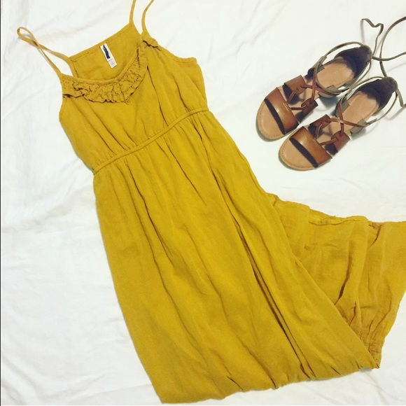 9b0e58a976 Free People Dresses & Skirts - Mustard yellow sheer lined maxi dress size  small