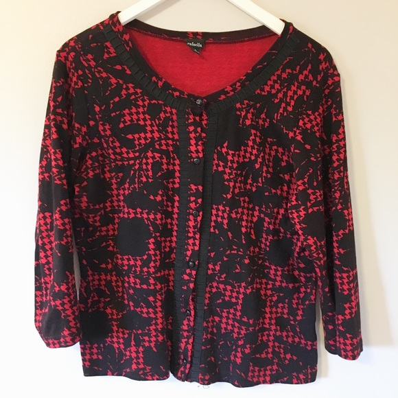 80% off Rafaella Sweaters - Red and Black Cardigan from ...