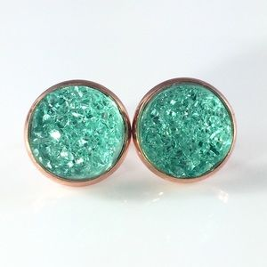 thejeweladdict Jewelry - 3 for 15🎀chunky mint faux Druzy rose gold studs