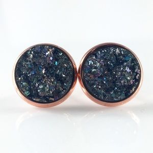 thejeweladdict Jewelry - 3 for 15🎀light teal gunmetal faux Druzy studs