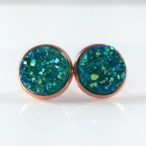 thejeweladdict Jewelry - 3 for 15🎀chunky teal faux Druzy rose gold studs