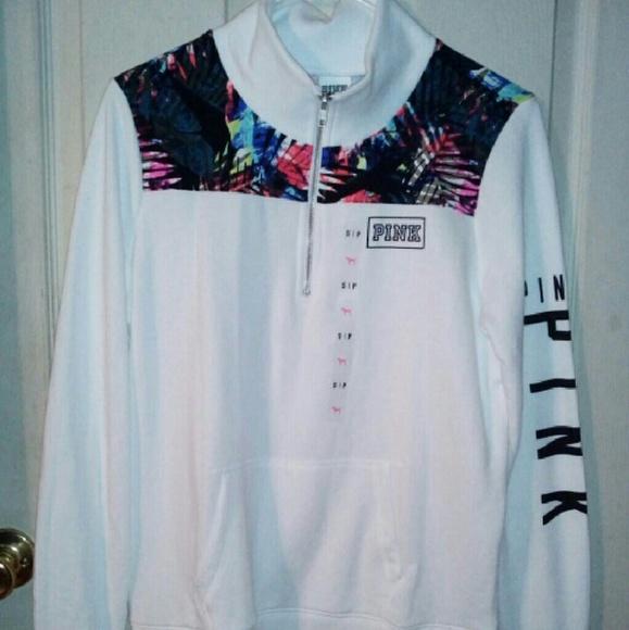 PINK Victoria's Secret - TRADED Pink nation half zipper sweatshirt ...