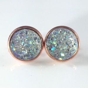 thejeweladdict Jewelry - 3 for 15🎀smokey Crystal faux Druzy studs
