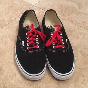 Vans Shoes   Black Vans Red Laces