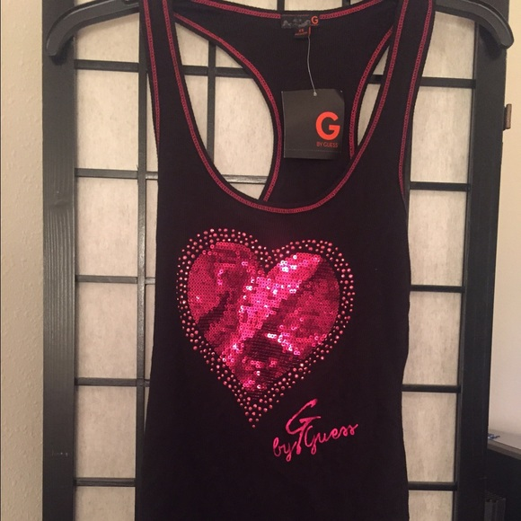 G by guess sequin red heart tank top xs NWT