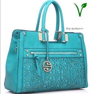 Segolene Paris Handbags - 🆕NWT turquoise lazer cut satchel w/strap