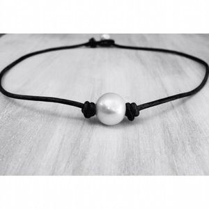 BOGO FREE Leather Pearl Choker Necklaces