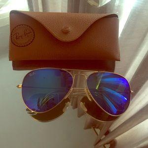 Ray ban 58mm blueish green sunglasses