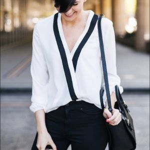 White Long Sleeve Cross Front Blouse S