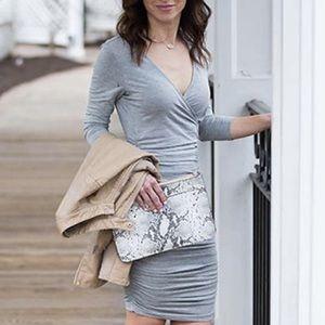 Grey Long Sleeve Deep V Ruched Dress S