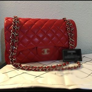 Handbags - Red Leather Classic Flap