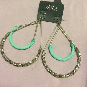 Faux silver glitter teal hoop tear drop earrings