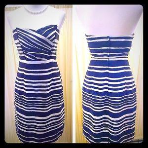SALEH&M Blue & White Striped Strapless Dress
