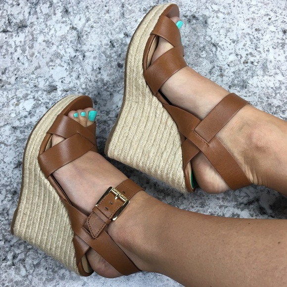 754a8f6dc36 Michael Kors brown leather espadrille viola wedge NWT