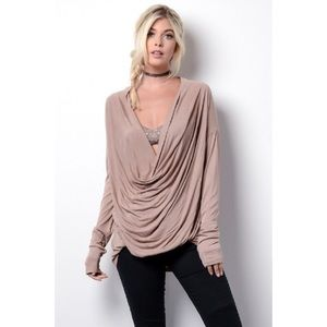 clmayfae Tops - *LAST2* Front Draped Cocoa Top