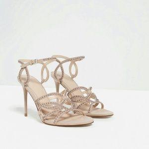 Nude studded high heel sandals -- Zara size 8