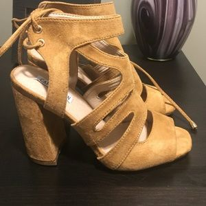 Shoes - Chunky heeled suede sandals with tie on the back
