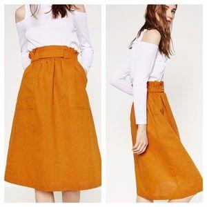 Zara orange high wasted skirt