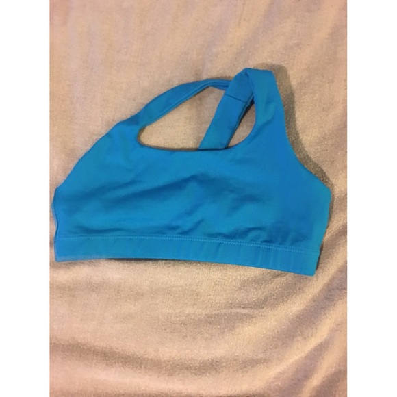 385789f512 Affitnity Blue One Shoulder Sports Bra