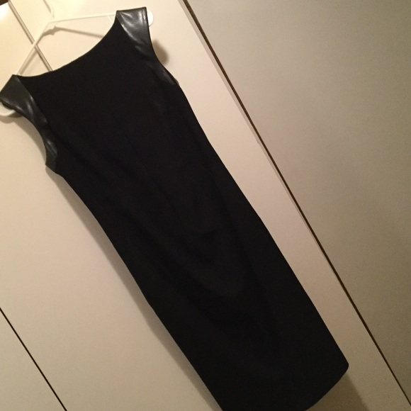 MaxMara Dresses & Skirts - SportMax by MacMara black dress leather detail sz8