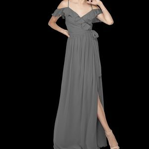 Gray off the shoulder gown
